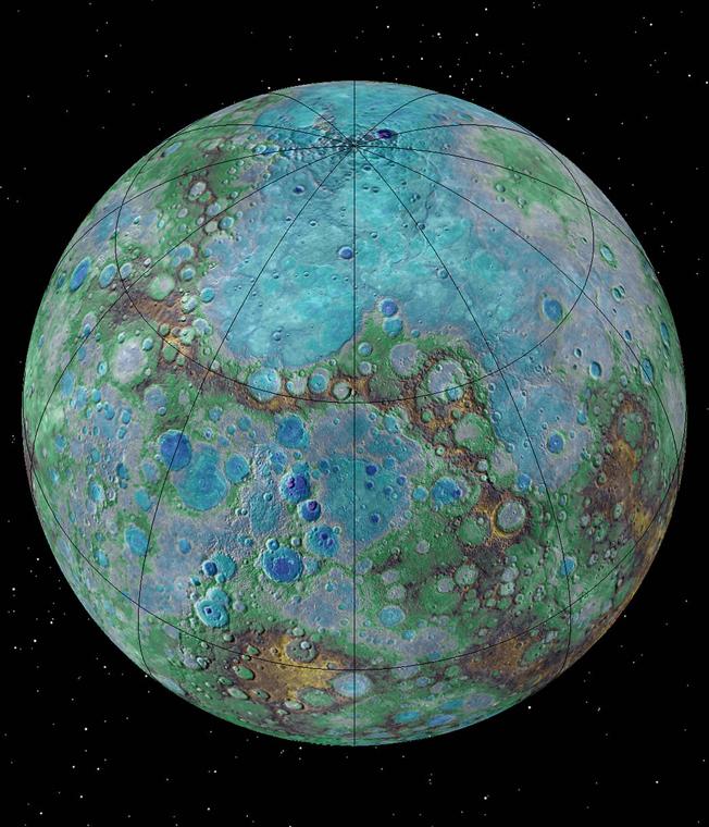 Tectônica: atividade no Planeta Mercúrio pode ser comparada com a Terra. Imagem: NASA/JHUAPL/Carnegie Institution of Washington/USGS/Arizona State University
