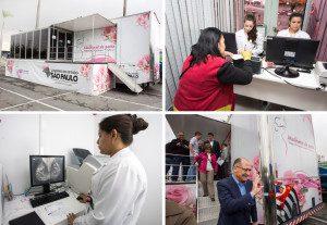 Imagens mostram aspectos do atendimento na carreta de mamografia que fica no Shopping Aricanduva até sábado (8/10) e a presença do governador Geraldo Alckmin durante o início da campanha #OutubroRosa deste ano. Fotos: A2img / Ciete Silvério