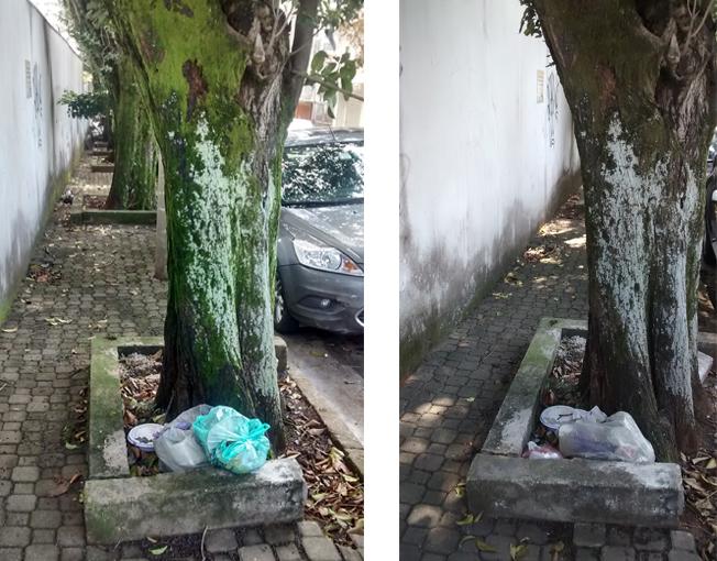 Contrato de coleta de lixo feito pela atual gestão da Prefeitura de São Paulo: à direita, o lixo que se acumula há pelo menos duas semanas. À esquerda, mais lixo foi colocado no mesmo lugar, sobre o que já havia. Durante a coleta noturna de ontem (19), a parte de cima foi levada e a que lá estava, assim ficou. Foto: aloimage