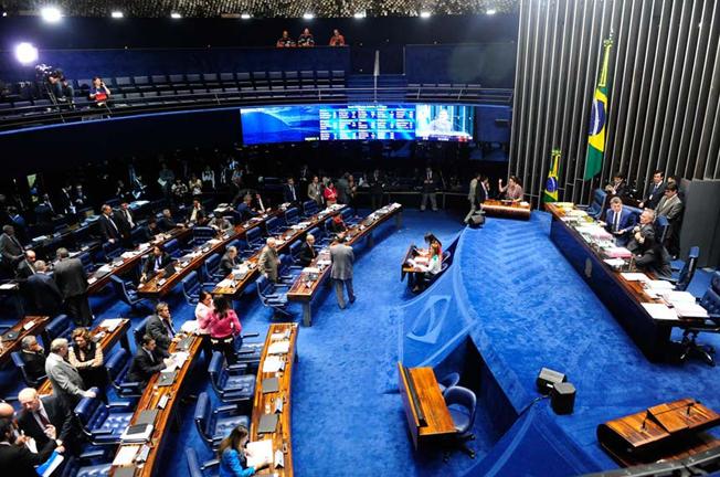 Sessão do Senado Federal que aprovou o projeto que dá efetividade ao limite de remuneração imposto pela Constituição aos agentes públicos, acabando com os supersalários.  Foto: Jonas Pereira/Agência Senado