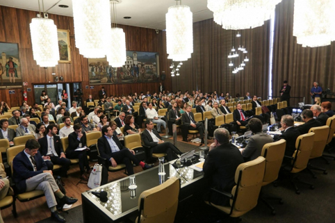 5º Diálogo Brasil-Alemanha de Ciência, Pesquisa e Inovação, realizado em 29 e 30 de novembro, na Câmara Municipal de São Paulo, reuniu pesquisadores, urbanistas, representantes do setor público, entre outros. Foto: Felipe Mairowski