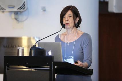 Maria Cristina da Silva Leme, da FAU-USP, durante o 5º Diálogo Brasil-Alemanha de Ciência, Pesquisa e Inovação. Foto: Felipe Mairowski