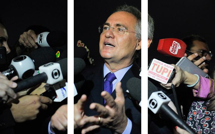 Renan Calheiros falou à imprensa nesta quinta-feira (9), depois de livrar-se do afastamento da presidência do Senado. Foto: Jane de Araújo/Agência Senado. Arte: aloart