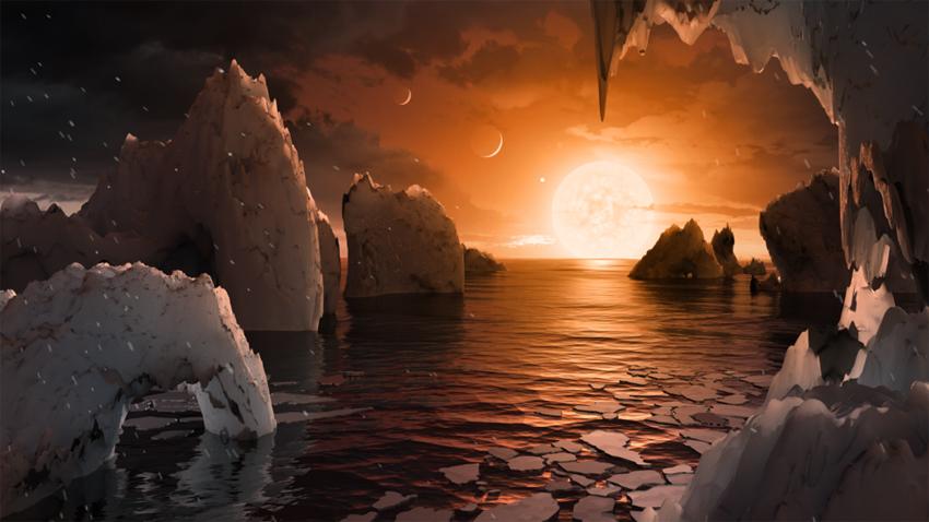 Esta ilustração mostra a possível superfície de TRAPPIST-1f, um dos planetas recém-descobertos no sistema TRAPPIST-1. Crédito: NASA / JPL-Caltech