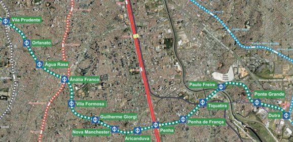 Expansão da Linha Verde do metrô será retomada entre Vila Prudente e Penha