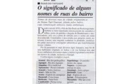 Memória Alô Tatuapé – Nomes de ruas do bairro e significado