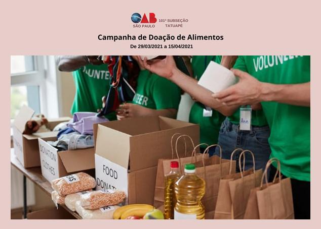 OAB Tatuapé promove campanha para arrecadar alimentos