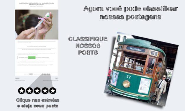 Classifique nossas postagens e eleja seus posts favoritos