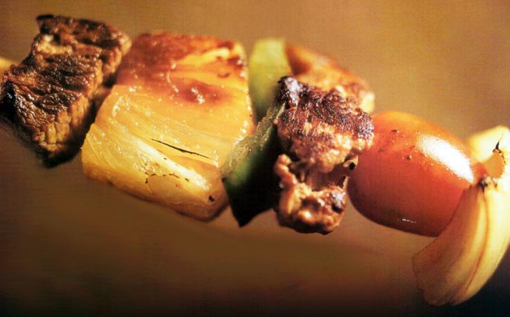 Espetinhos Mistos de Carne com Abacaxi